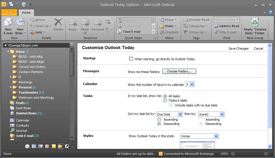 Outlook today yesterday last week